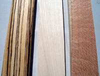 The choices of wood. Left to right: Zebra, Pine, Lacewood